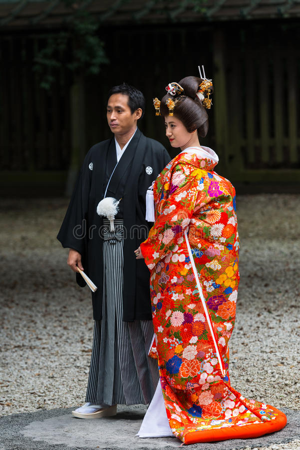 Japanische Hochzeitszeremonie bei Meiji Jingu Shrine, Tokyo lizenzfreie stockbilder