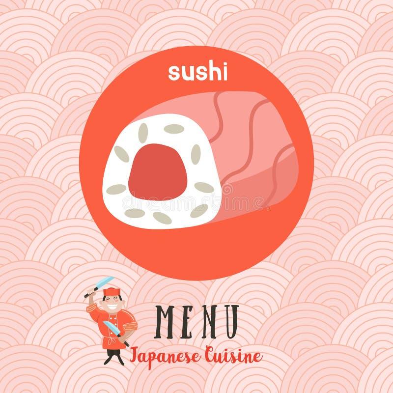 Japanische Küche Japanischer Chef Satz japanisches traditionelles DIS vektor abbildung