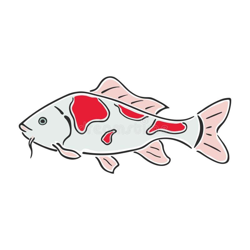 Japanische Karpfen koi Charakterzusammenfassungstintenhandgezogene Vektor-Logokarikatur Das Mädchen in einer Klage des reizenden  stock abbildung