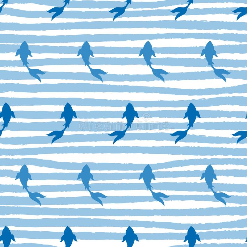 Japanische koi-koi Fische auf endlosem Muster der Streifen lizenzfreie abbildung