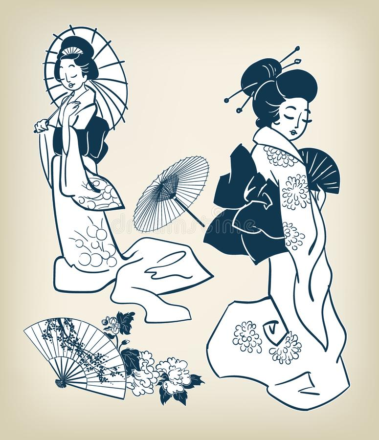 Japanische Mädchenfrauenkimonovektor illystration Gestaltungselemente vektor abbildung