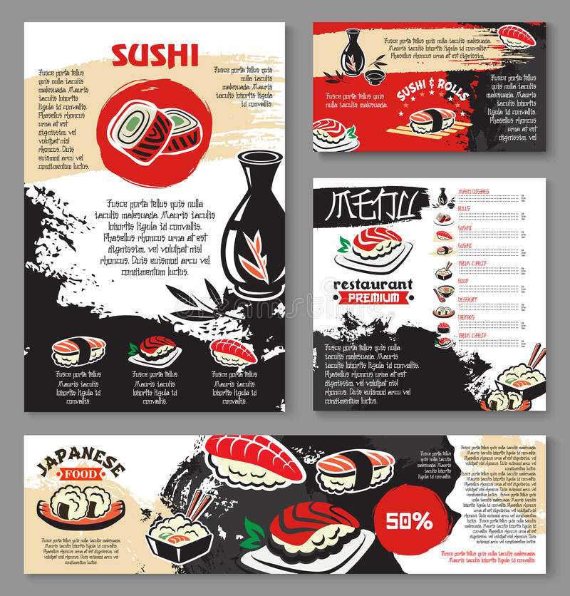 Japanische Meeresfrüchterestaurantsushi-Menüschablone lizenzfreie abbildung