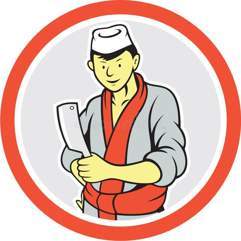 Japanische Metzger-Hold Meat Cleaver-Kreis-Karikatur lizenzfreie abbildung