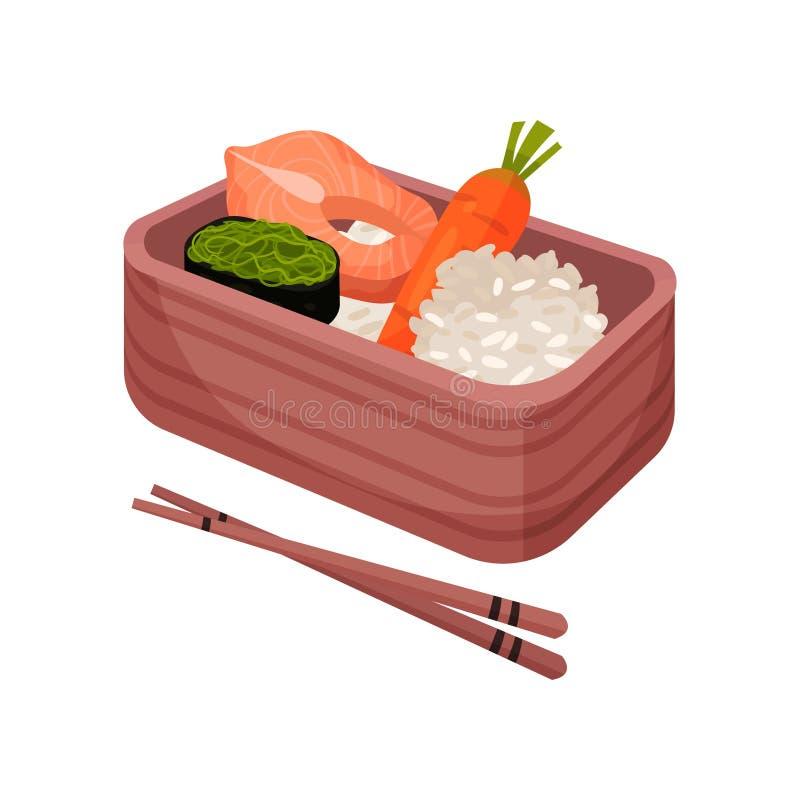 Japanische Nahrung im Lunchbox Bento und bentobox lizenzfreie abbildung