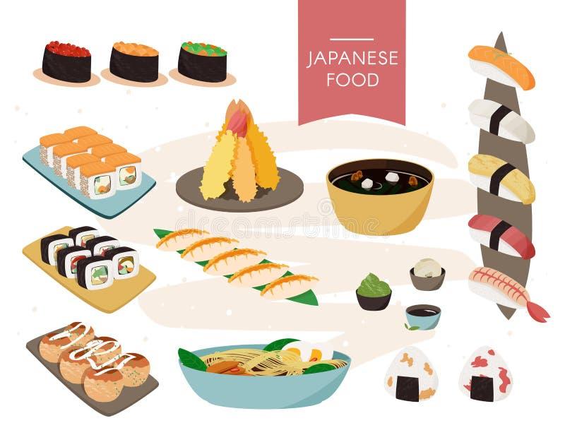 japanische Nahrungsmittelansammlung Realistischer Satz des Vektors Sushi, Suppen usw. stock abbildung