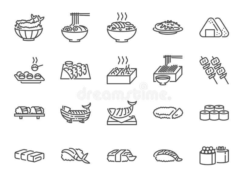 Japanische Nahrungsmittellinie Ikone stellte 1 ein Schloss die Ikonen als Sushi, Sashimi, maki, Sushirolle, Tonkatsu und mehr ein lizenzfreie abbildung