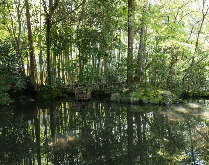 Japanische orientalische grüne Gartenansicht und -teich lizenzfreie stockbilder