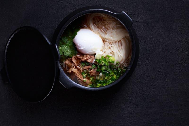 Japanische Ramensuppe mit Huhn, Ei und Schnittlauchen lizenzfreie stockfotografie