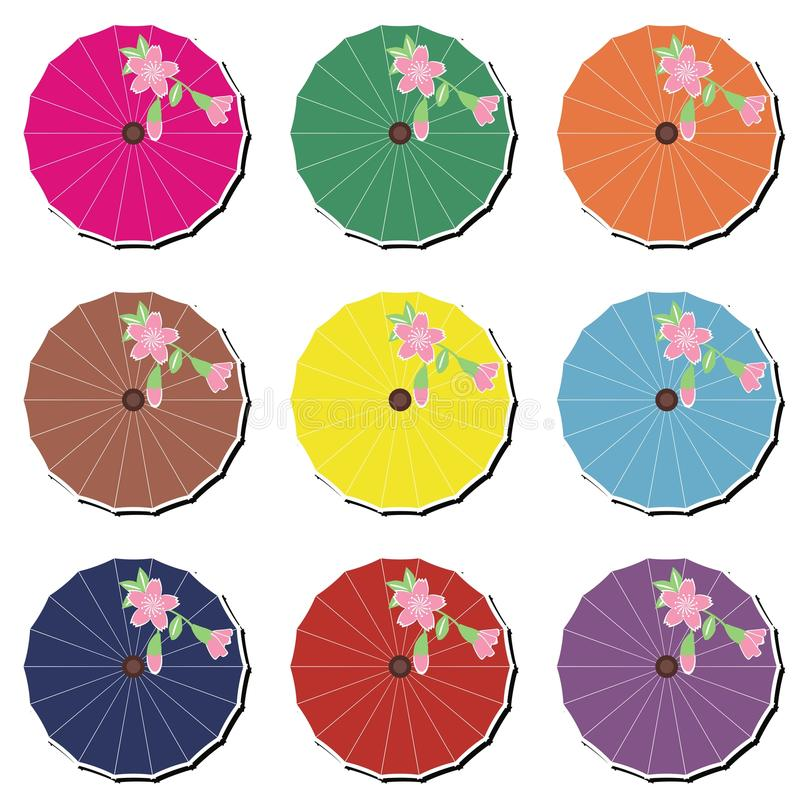 Japanische Regenschirme auf Weiß stock abbildung