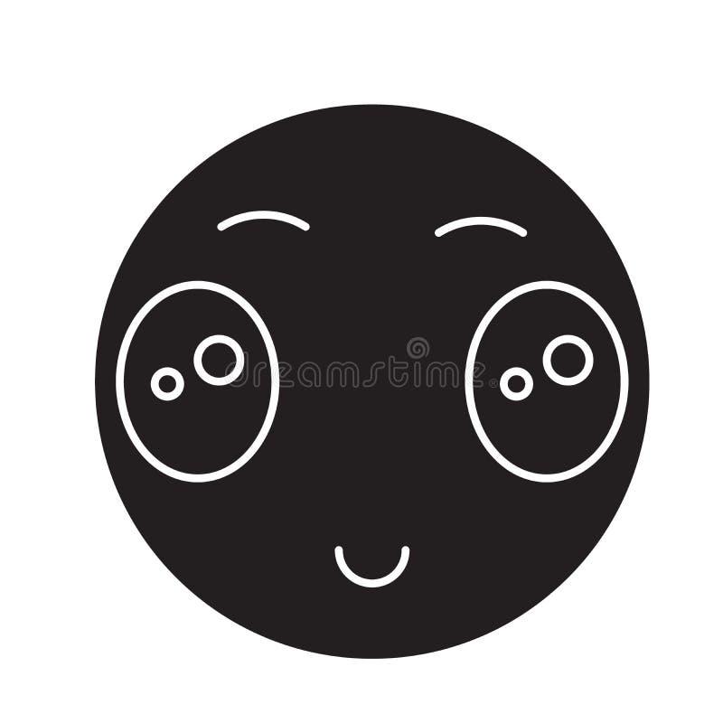 Japanische Schwarzvektor-Konzeptikone emoji der wachsamen Augen Japanisches emoji der wachsamen Augen flache Illustration, Zeiche vektor abbildung