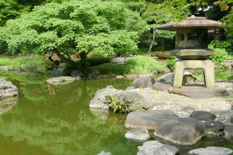 Japanische Steinlaterne im Freien, Grünpflanzen im Zen arbeiten im Garten stockbilder