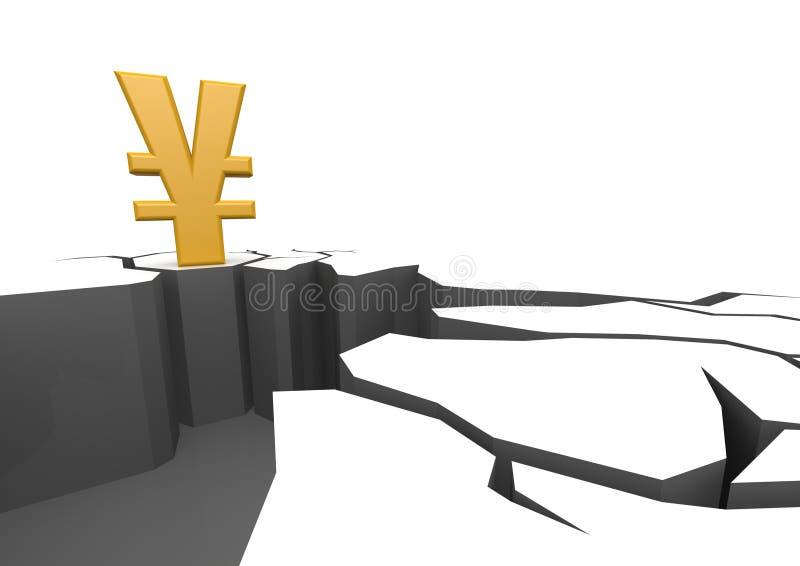 Japanische Yen auf der Klippe vektor abbildung