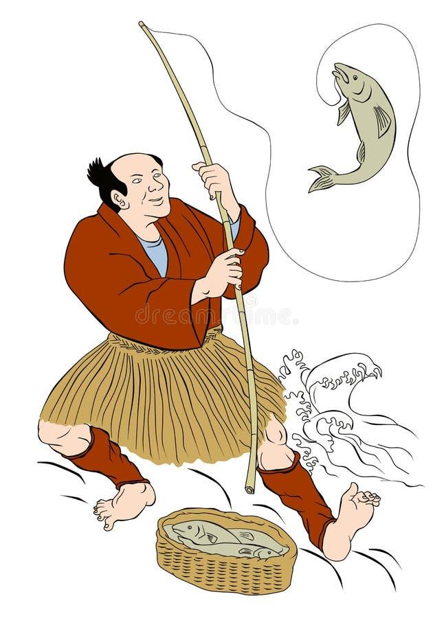 Japanischer Fischer, der anziehende Forellefische fischt lizenzfreie abbildung