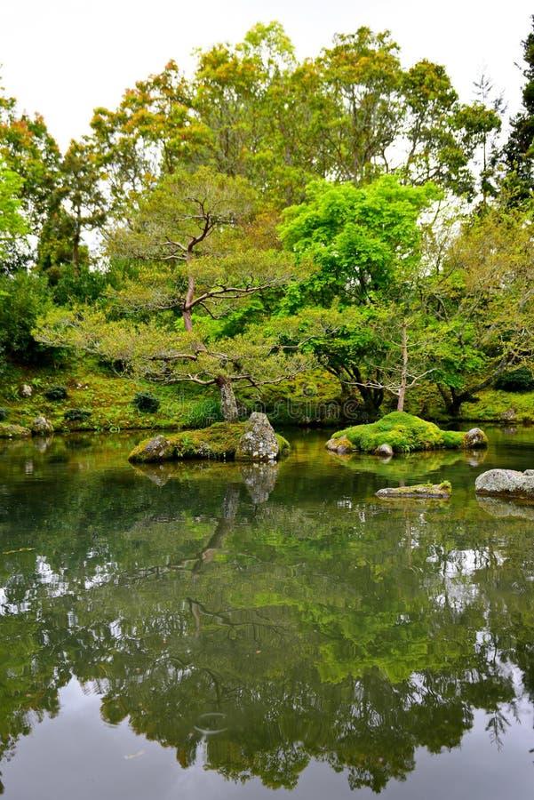 Japanischer Garten der Betrachtung in Hamilton Gardens lizenzfreies stockfoto