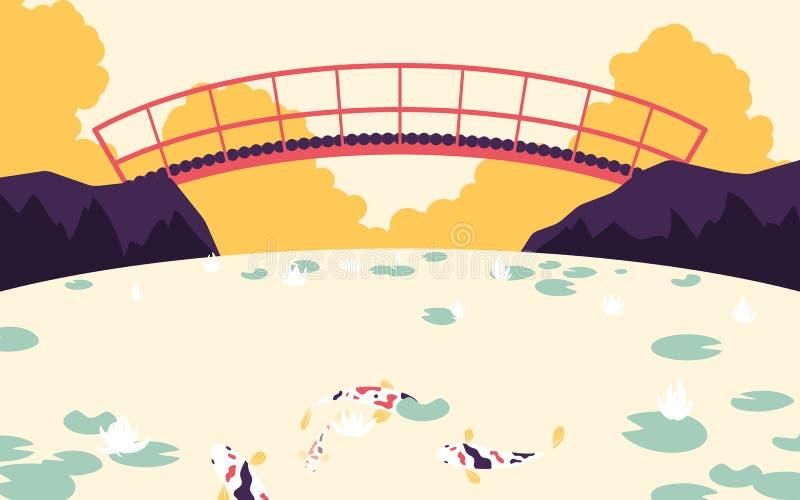 Japanischer Garten mit roter Brücke über dem Fluss mit fantastischem Karpfen und Lotos lizenzfreie abbildung