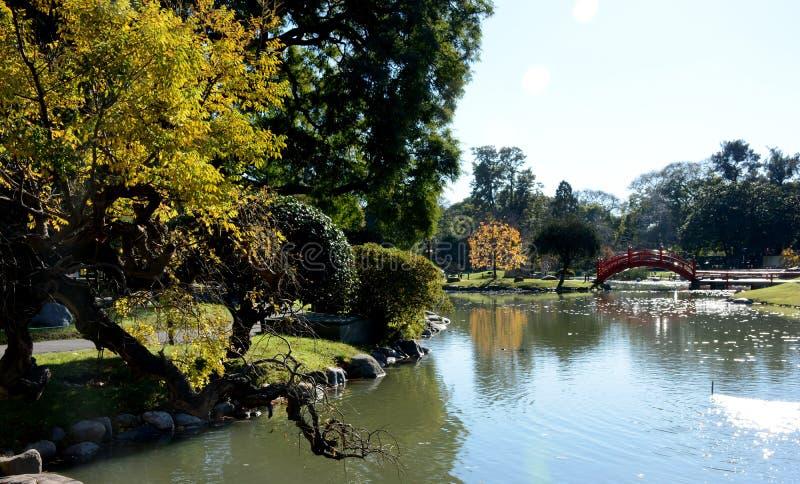 Japanischer Garten Puerto Madero an der Dämmerung lizenzfreie stockfotografie