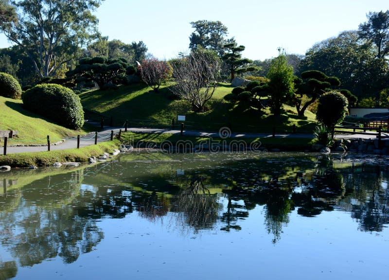 Japanischer Garten Puerto Madero an der Dämmerung stockbilder