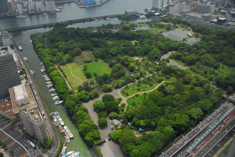 Japanischer Garten von der Luft stockbilder
