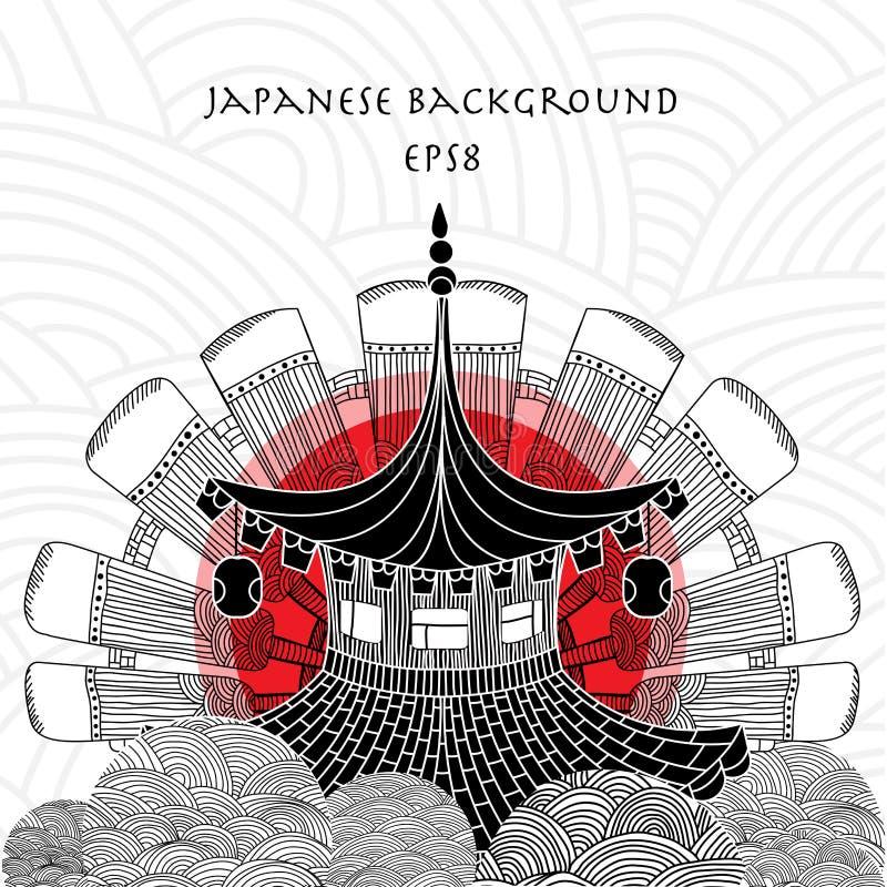 Japanischer Hintergrund mit japanischem Haus stockfotografie