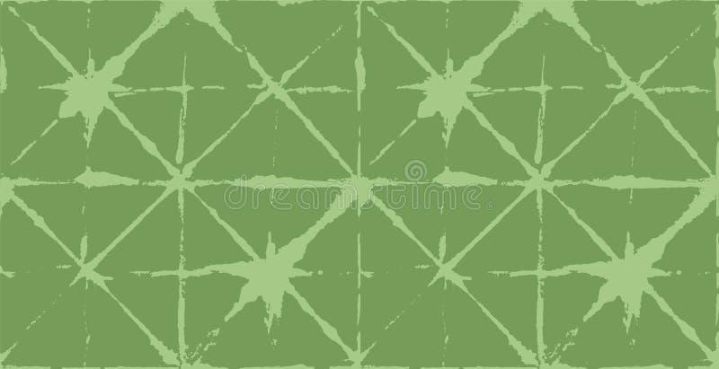 Japanischer Kimono-Vektor-nahtloses Muster, künstlerische Bindungs-Färbungs-Geisha Ornament Wabi Sabi Ikat Geo Texture, asiatisch vektor abbildung