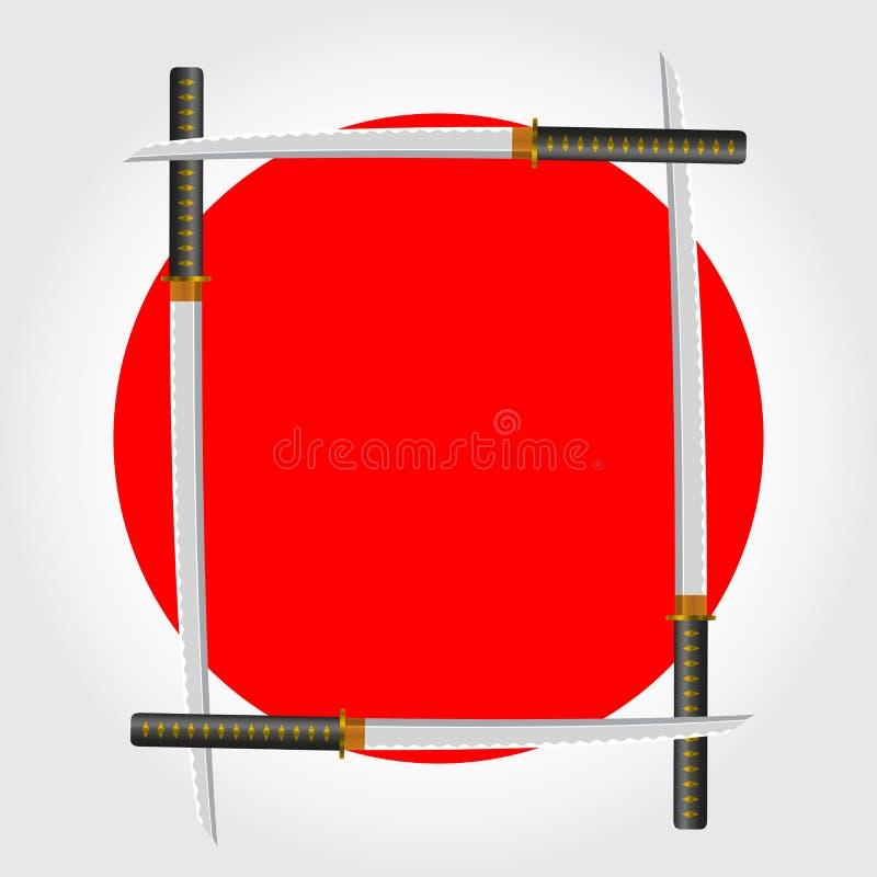 Japanischer Klingen-Rahmen Auch im corel abgehobenen Betrag stock abbildung