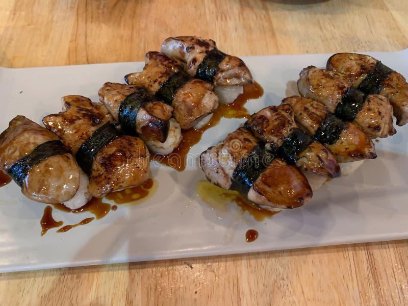 Japanischer Nahrungsmittelfettleber-Sushihintergrund stockfoto