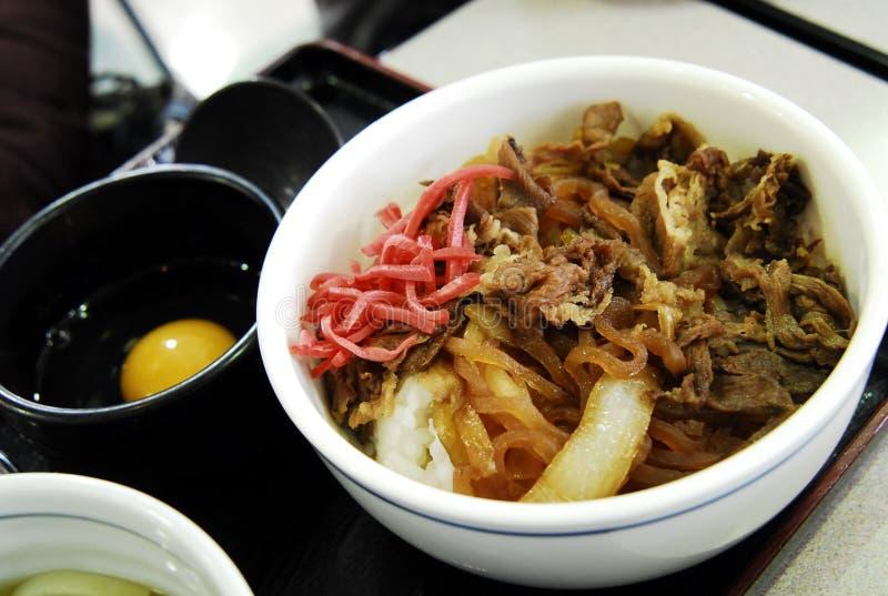 Japanischer Nahrungsmittelreis mit trockenen Fischen lizenzfreie stockfotos