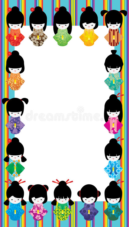 Japanischer Puppenmädchenregenbogen-Streifenrahmen stock abbildung