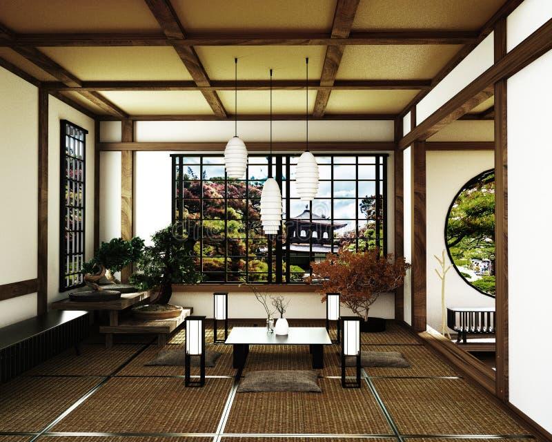Japanischer Raum, Kyoto-Zenart Wiedergabe 3d stock abbildung