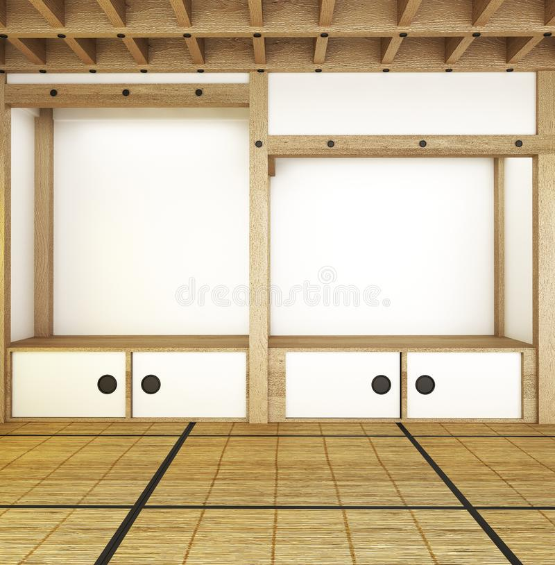 Japanischer Rauminnenraum - moderne leere Raumart - Dachentwurf Wiedergabe 3d lizenzfreie abbildung