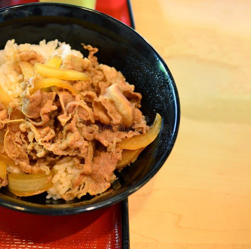 Japanischer Reis mit gegrilltem Fleisch lizenzfreies stockfoto