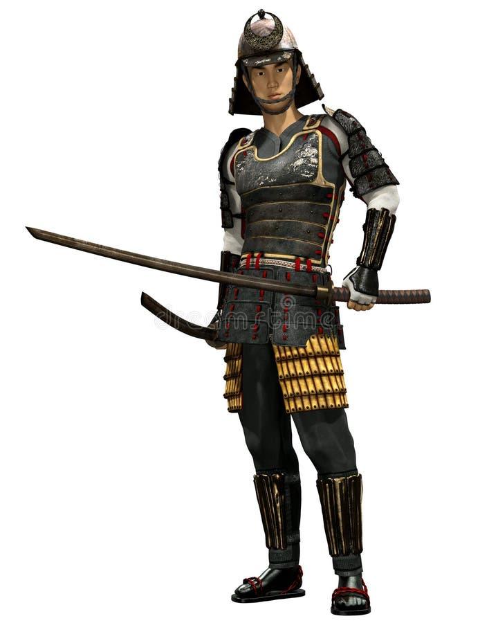 Japanischer Samurai Soldier 3D Render lizenzfreie abbildung