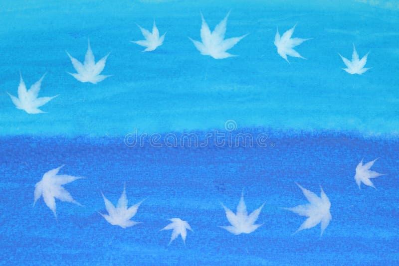 Japanisches Ahornblatt und Ozeanzusammenfassung des Sommers blaue Seeoder Aquarellfarbenhintergrund vektor abbildung