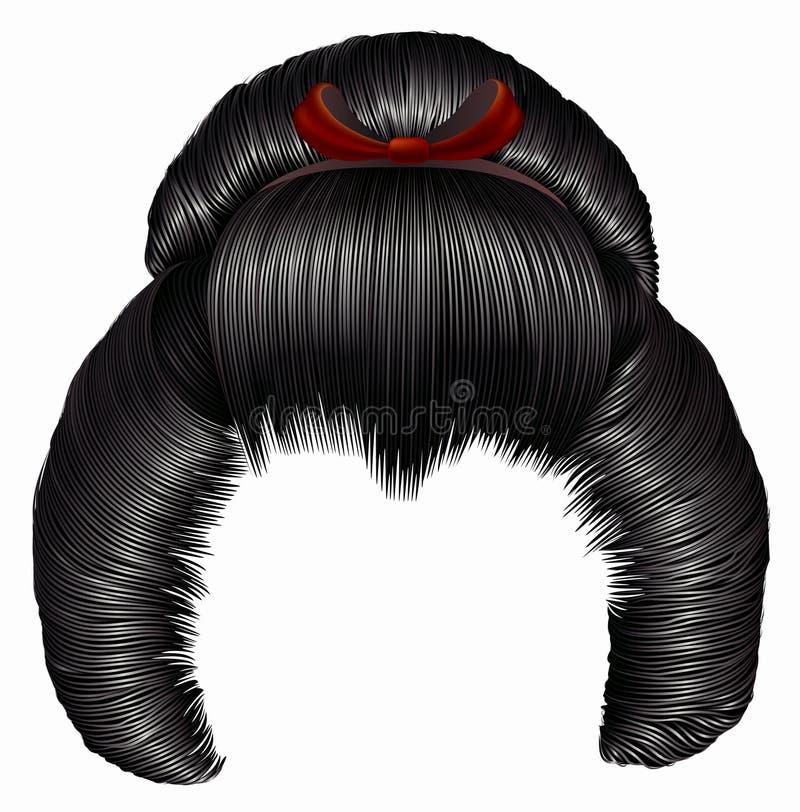 Japanisches hairstile mit Haarspange Haare schwarze Brunettefarben Frauenmode-Schönheitsart stock abbildung