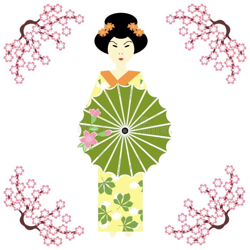 Japanisches Mädchen mit Regenschirm lizenzfreie abbildung