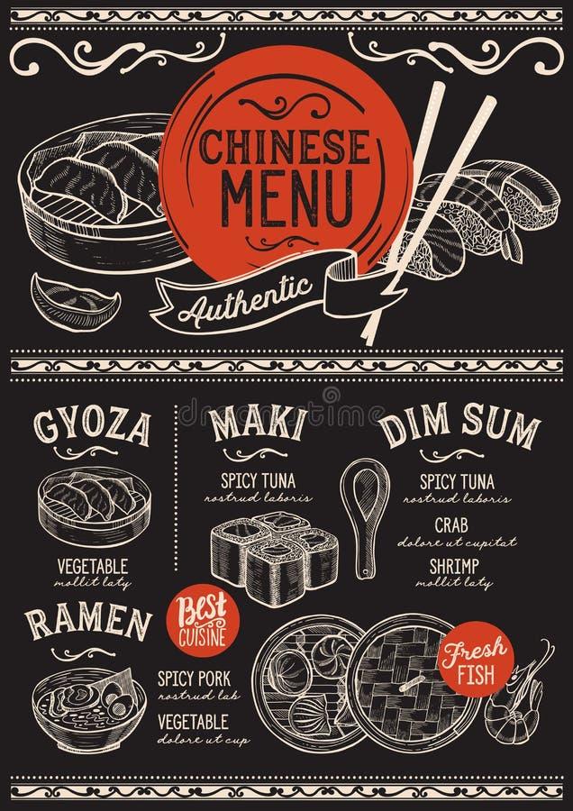 Japanisches Menürestaurant, Sushilebensmittelschablone lizenzfreie abbildung