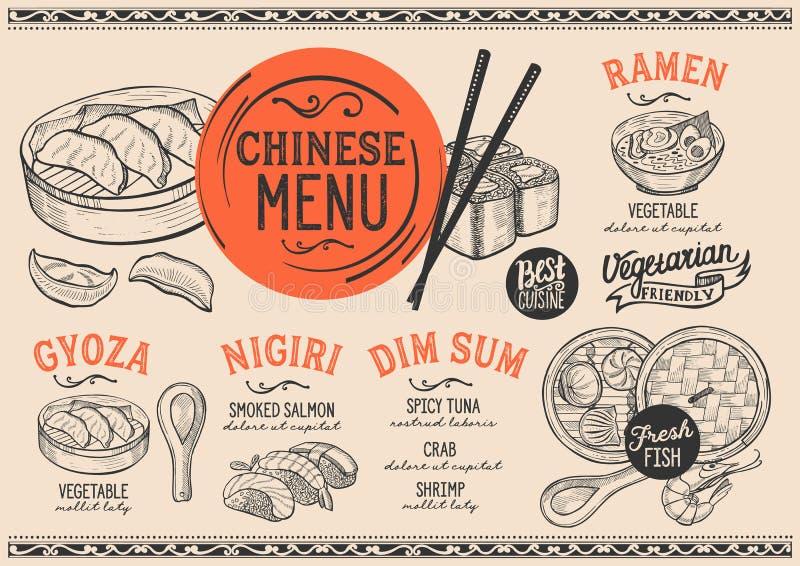 Japanisches Menürestaurant, Sushilebensmittelschablone stock abbildung