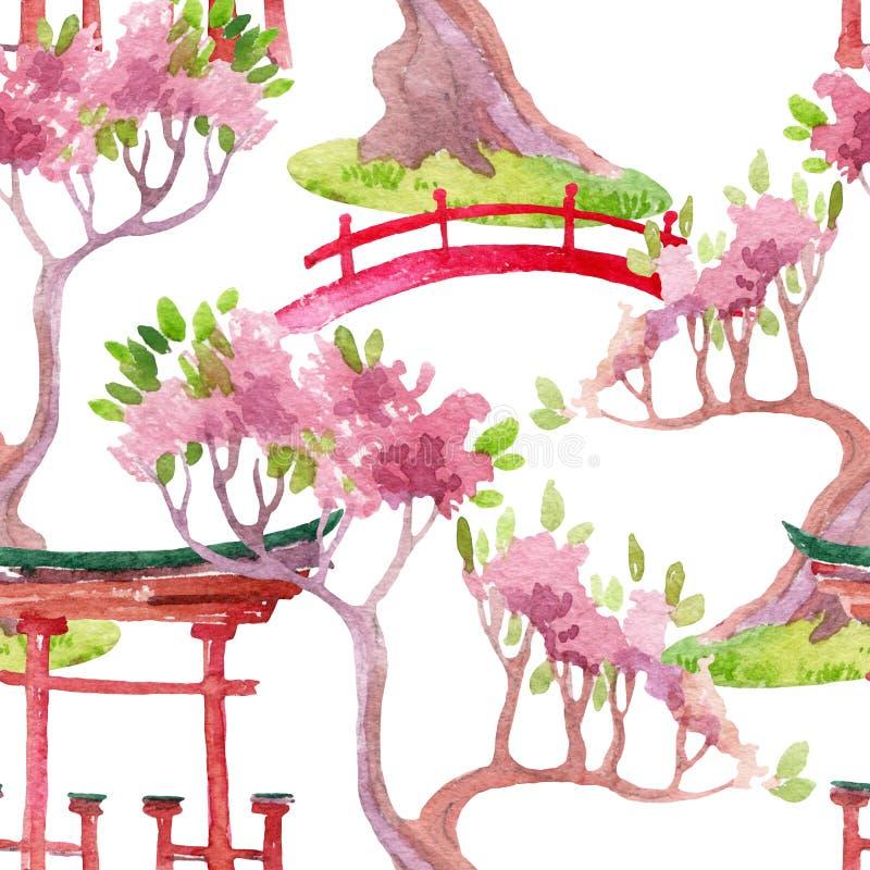 Japanisches nahtloses Muster stock abbildung