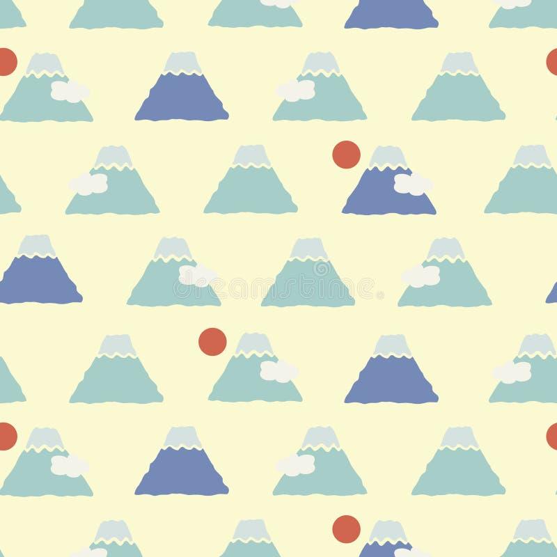 Japanisches nettes Fuji-Berg-Muster lizenzfreie abbildung
