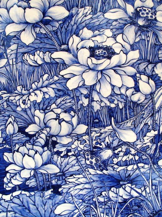 Japanisches Porzellanfliesepanel datiert 1875 lizenzfreie stockfotos