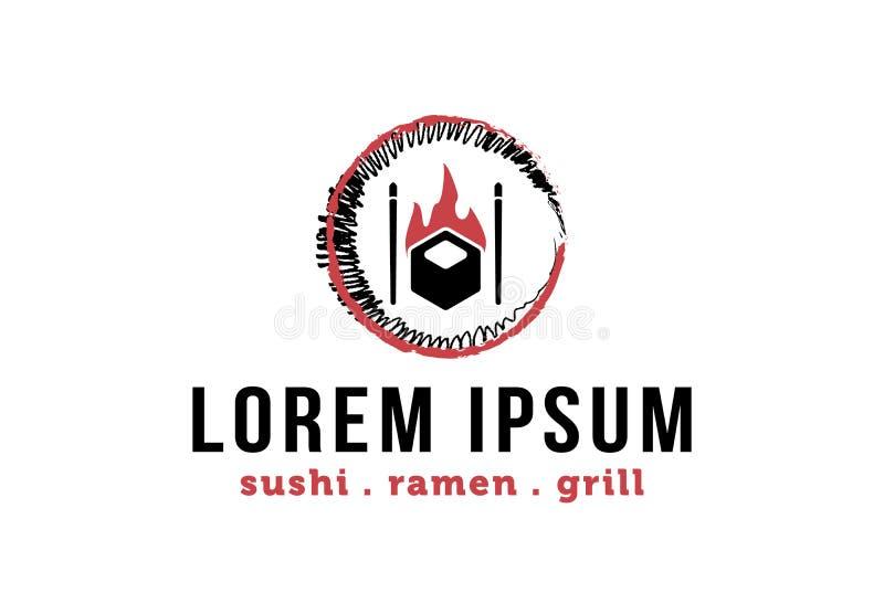 Japanisches Sushi-Bar Logo Inspiration lokalisiert auf weißem Hintergrund stock abbildung