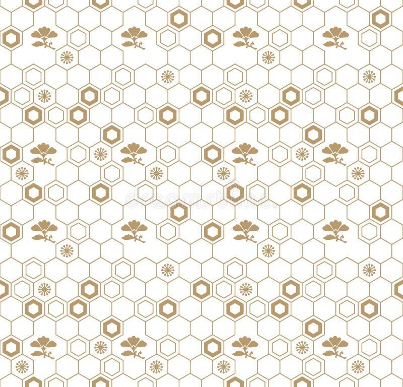 Japanisches traditionelles geometrisches Musterdesign des nahtlosen Vektors mit Blumensymbolen Design für Gewebe, Verpackung, Abd lizenzfreie abbildung