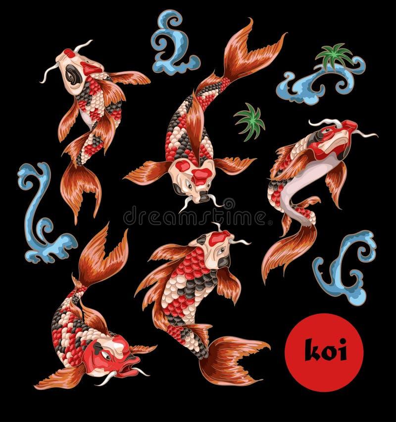 Japanisches traditionelles Karpfen koi für Stickerei oder Druck stock abbildung