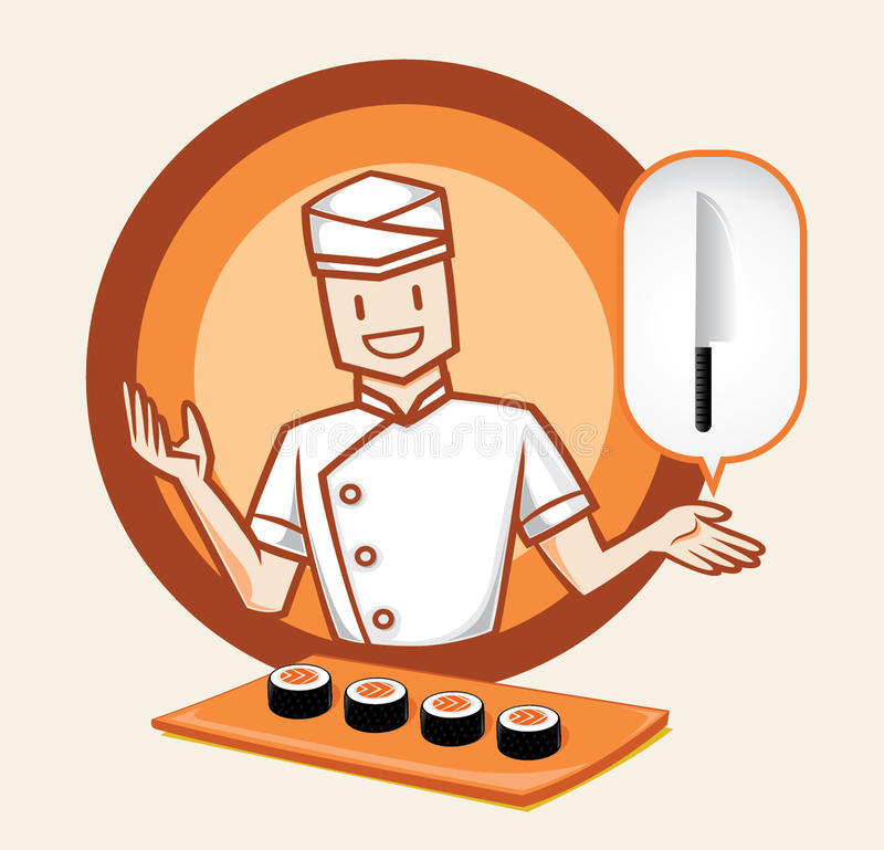 Japans chef-kokkarakter met sushi royalty-vrije illustratie