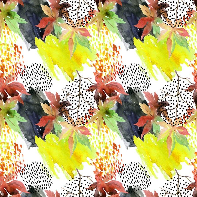 Japans de esdoornblad van de de herfstwaterverf en krabbel naadloos patroon vector illustratie