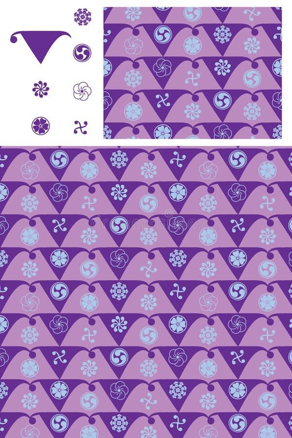 Japans de symmetrie purper naadloos patroon van vlagmon vector illustratie