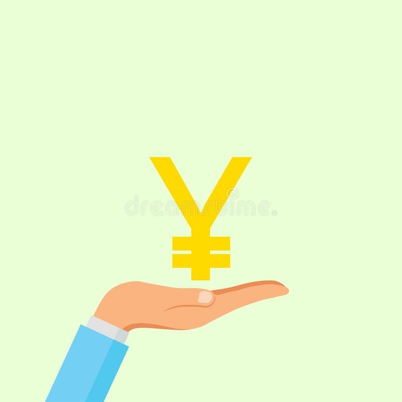Japans die de Yenteken van de handgreep op achtergrond wordt geïsoleerd Geld, het symboolpictogram van het muntcontante geld Zake stock afbeelding