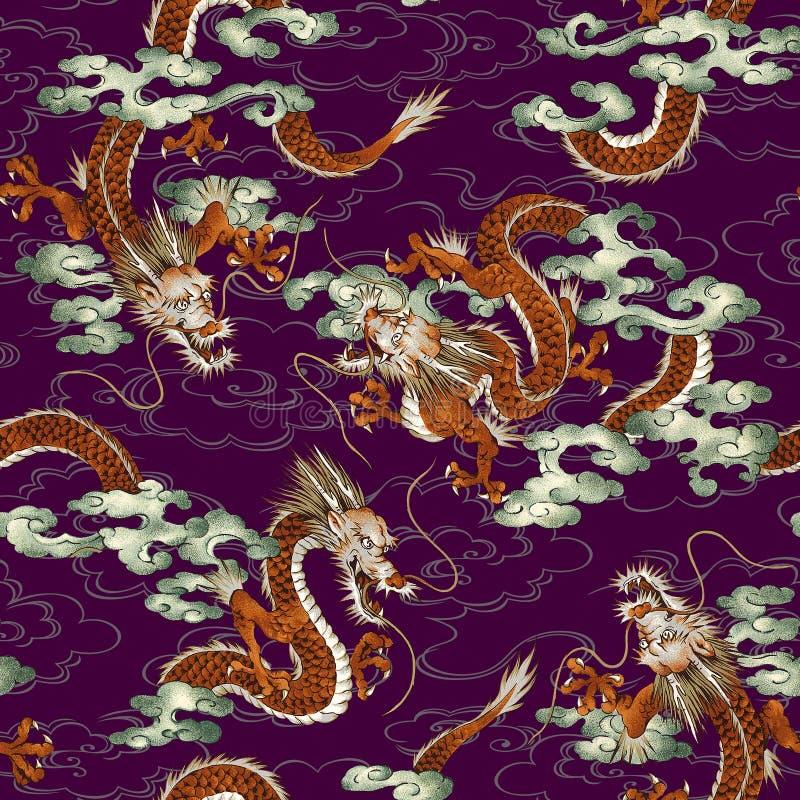 Japans draakpatroon stock illustratie