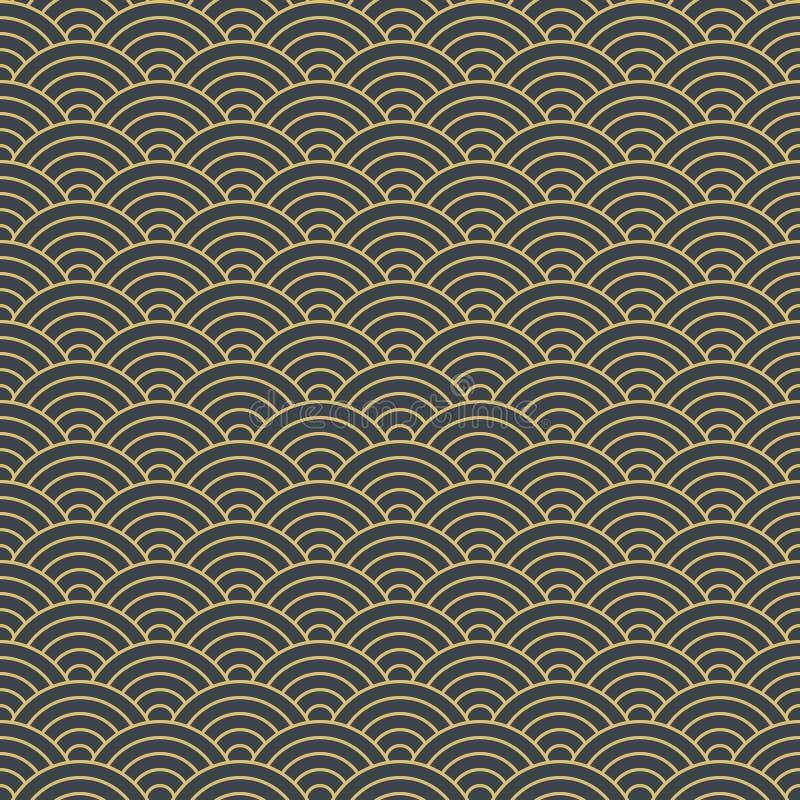 Japans geometrisch naadloos patroon, Aziatische gouden golfachtergrond vector illustratie