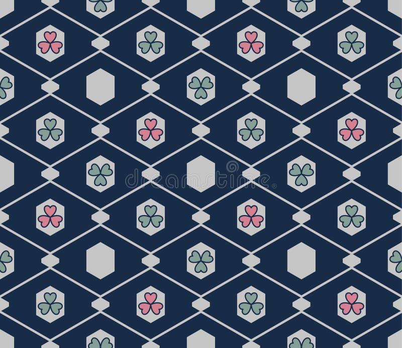 Japans Hexagon Bloem Naadloos Patroon stock illustratie